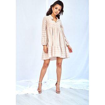 11f485751a Sukienka Mosquito beżowa bez wzorów midi oversize z długim rękawem na  urodziny