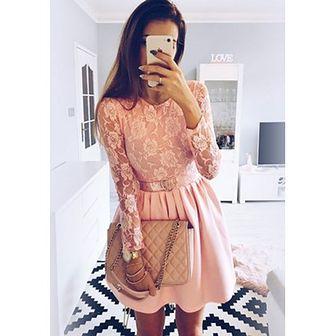Sukienka Pakuten z długim rękawem na spacer mini z koronką rozkloszowana