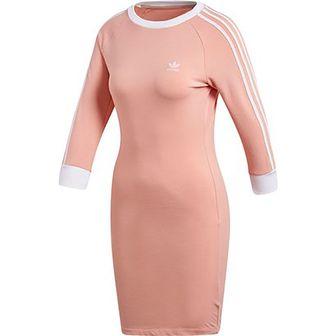 Sukienka Adidas Originals z lampasami prosta z długim rękawem