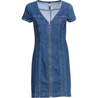 Niebieska sukienka Rainbow z krótkimi rękawami na spacer casual midi