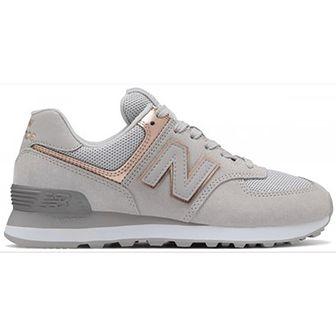 Buty sportowe damskie New Balance w stylu casual skórzane płaskie gładkie