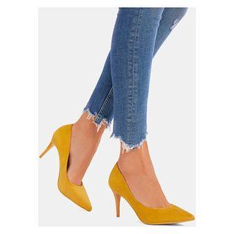 Czółenka DeeZee eleganckie żółte bez wzorów na wysokim obcasie bez zapięcia ze szpiczastym noskiem