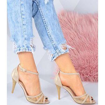 Sandały damskie Elegance bez wzorów1 na wysokim obcasie eleganckie na