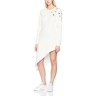 Sukienka biała Rinascimento asymetryczna z aplikacją z długim rękawem