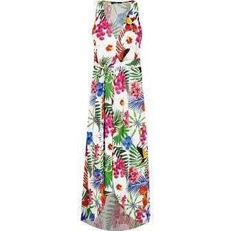Sukienka Desigual asymetryczna wielokolorowa na spacer bez rękawów w serek midi