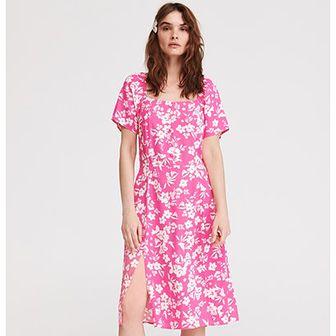 Sukienka różowa Reserved prosta z okrągłym dekoltem