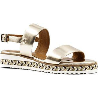 Sandały damskie złote Neścior skórzane casual na koturnie w abstrakcyjne wzory z niskim obcasem z klamrą