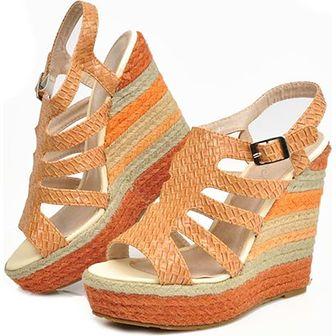 Espadryle damskie Pantofelek24 tkaninowe bez wzorów na koturnie na lato casual
