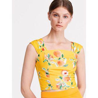 Reserved bluzka damska z krótkimi rękawami żółta z dekoltem karo