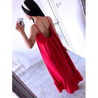 Sukienka Magmac czerwona z dekoltem na plecach bez wzorów