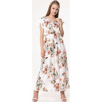 Sukienka Born2be z dekoltem w serek wielokolorowa maxi na spacer prosta w kwiaty