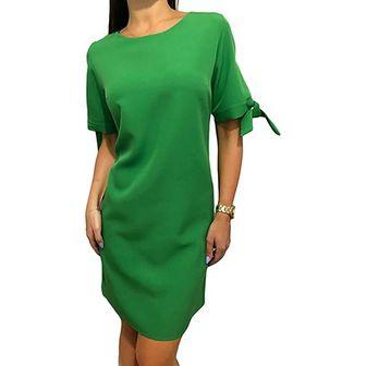 Sukienka Modnakiecka.pl ołówkowa gładka z okrągłym dekoltem z krótkim rękawem