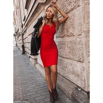 Sukienka Selfieroom mini czerwona na randkę z elastanu bez rękawów