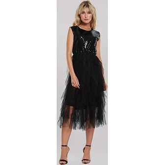 Sukienka Renee w cekiny na sylwestra czarna midi elegancka z okrągłym dekoltem bez rękawów