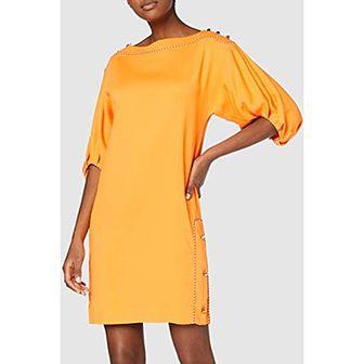 Sukienka z długim rękawem bez wzorów z okrągłym dekoltem