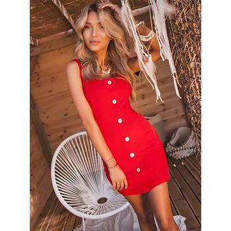 Sukienka czerwona Selfieroom z okrągłym dekoltem na ramiączkach casual mini