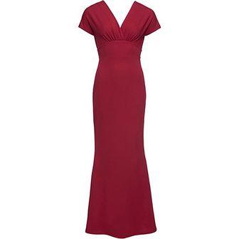 Sukienka Bonprix bez wzorów w serek maxi z krótkim rękawem