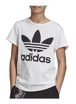 T-shirt chłopięce Adidas z nadrukami biały z dzianiny