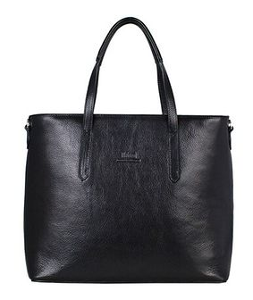 Shopper bag czarna Metozzi ze skóry elegancka duża lakierowana