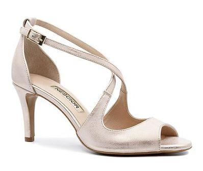 Sandały damskie Neścior bez wzorów eleganckie z klamrą na obcasie