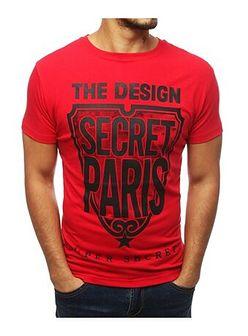T-shirt męski czerwony Dstreet młodzieżowy z krótkim rękawem