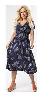 Sukienka Born2be w abstrakcyjne wzory z krótkim rękawem midi