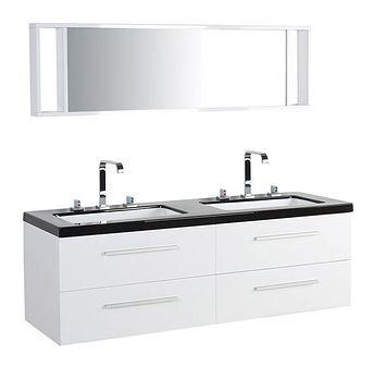Zestaw mebli łazienkowych biały nowoczesna szafka wisząca z 2 umywalkami i lustrem