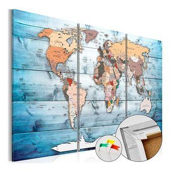 Tablica z mapą świata Bimago Sapphire Travels 120x80 cm