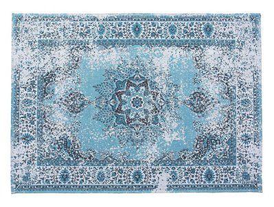 Beliani Dywan niebieski bawełniany 160 x 230 cm wzór orientalny z efektem postarzania