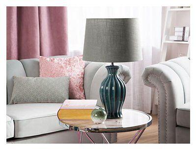 Beliani Lampa stołowa zielona ceramiczna 59 cm okrągły brązowoszary abażur klasyczna