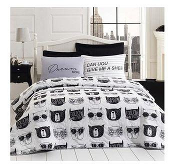 SELSEY Narzuta Monochrome Cats 200x220 cm z dwiema poszewkami na poduszkę 50x70 cm czarno-białe