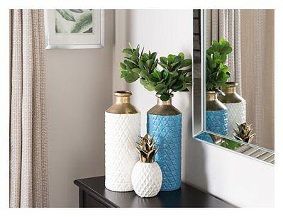 Wazon dekoracyjny niebieski ze złotą szyjką ceramiczny na kwiaty 39 cm