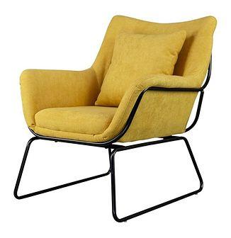 SELSEY Fotel Tale kubełkowy żółty na czarnej podstawie z wyprofilowanym oparciem