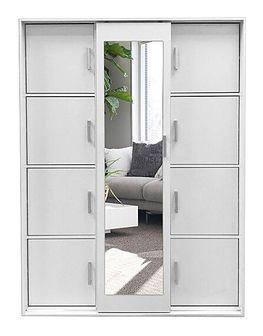 Garderoba dwudrzwiowa z lustrem i szafką na buty Lagerta - biała