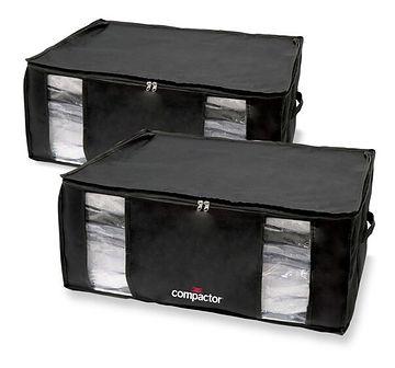 Zestaw 2 czarnych organizerów z workiem próżniowym Compactor Black Edition XXL, 50x26,5 cm