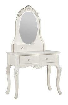 Toaletka z lustrem La Perle, 2 szuflady, 80x145, ecru