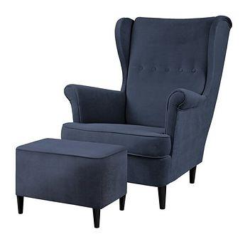 SELSEY Fotel z podnóżkiem Malmo granatowy w tkaninie Easy Clean