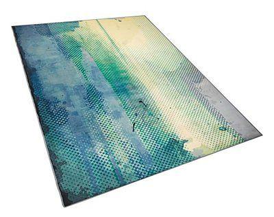 Beliani Dywan niebiesko-zielony 160 x 230 cm abstrakcyjny wzór akwareli