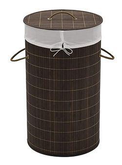 Okrągły bambusowy kosz na pranie Lavandi 2X - ciemnobrązowy