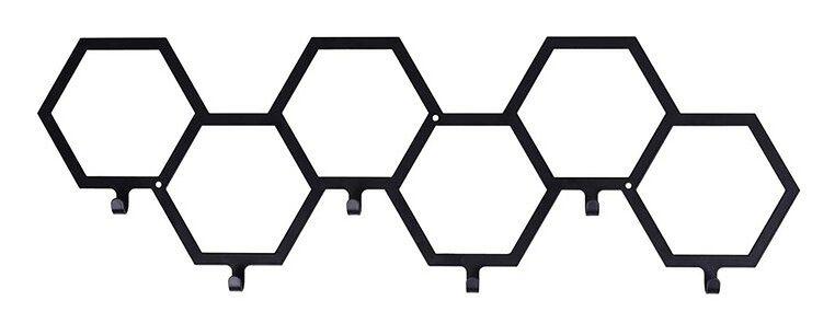 Wieszak na ubrania HEX 6 haczyków czarny