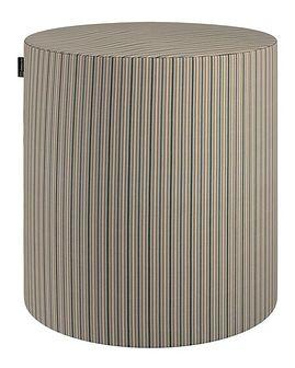 Puf Barrel, oliwkowo-beżowe pasy, ø40, wys. 40 cm, Londres