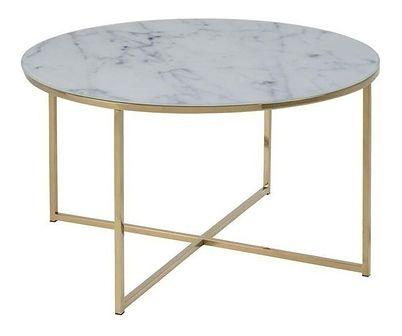 Actona Alisma Meblobranie stolik kawowy z marmurowym blatem 80cm - złoty