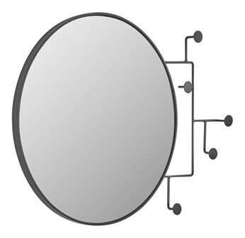 Wieszak ścienny z lustrem Vianela 70x51 cm czarny