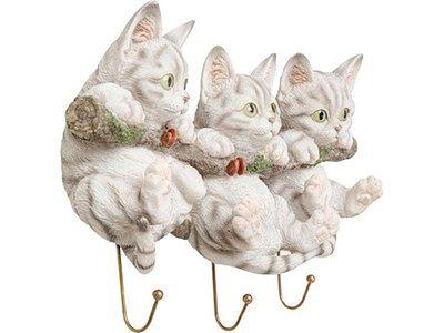Wieszak ścienny Three Mini Cats 29x21 cm