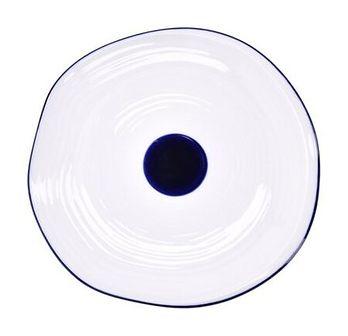 Talerz śniadaniowy DUKA KROG 20 cm biały granatowy porcelana