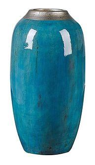 Wazon dekoracyjny niebieski z terakoty 42 cm nowoczesny stołowy