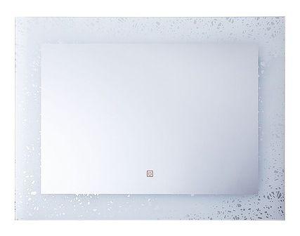 Lustro łazienkowe srebrne ozdobna rama 60 x 80 cm z podświetleniem LED system zapobiegający parowaniu