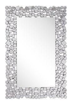Lustro ścienne srebrne 60 x 90 cm prostokątne wiszące dekoracyjna rama styl glamour