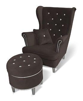 Fotel Uszak 6 z kryształkami + Podnóżek