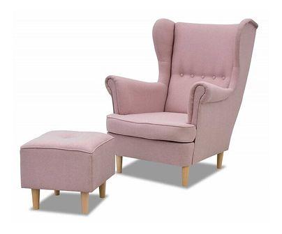 Zestaw Fotel Uszak z Podnóżkiem do Salonu Denver Pudrowy Róż